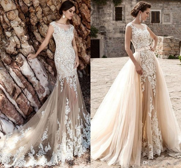 A Line Sheath Wedding Dresses Jewel Neck Sheer Champagne Nude Tulle White Lace Appliques Overskirts Detachable Train Custom Bridal Gown