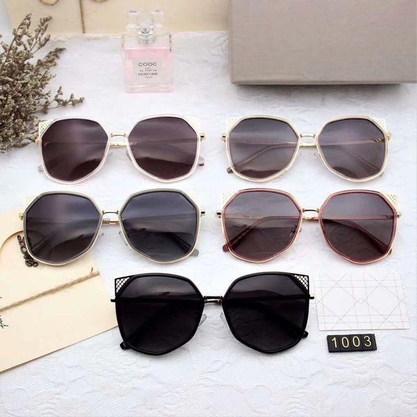 Gafas de sol de lujo 1003 para mujeres Gafas de sol de diseño de moda Protección UV Recubrimiento Lente Espejo Oval Marco completo de calidad superior Ven con estuche