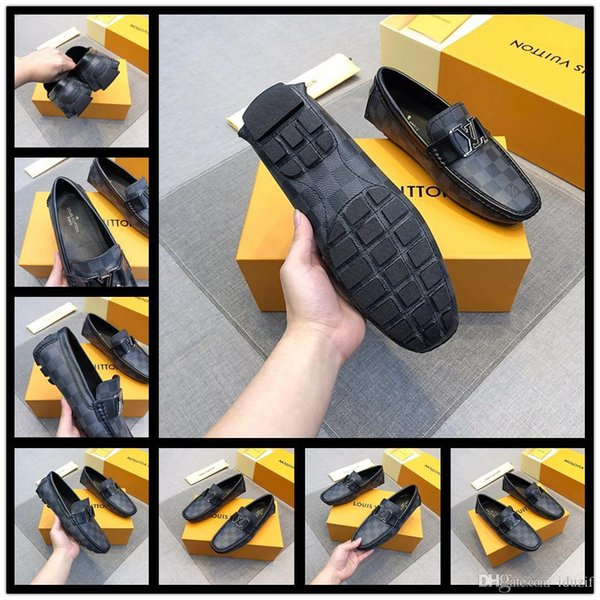 Best 2018 New style Black Leather Mens Rivets Loafers Designer Fashion Slip-on Mens Dress Shoes Handmade Men Smoking Shoes Casual Flat