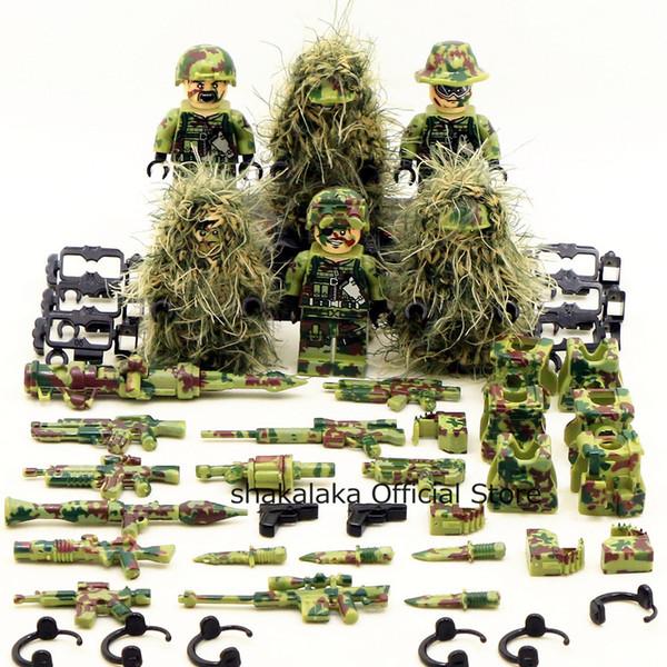 6 stücke ghillie anzug military camouflage lecker spezialeinheiten soldat krieg swat diy bausteine abbildung lernspielzeug geschenk junge y190606