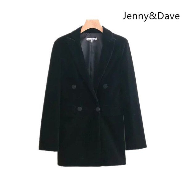 Jenny&Dave 2018 blazer feminino Casual noched reguar solid hidden breasted v-neck none blazers women Suit jacket plus size 1202