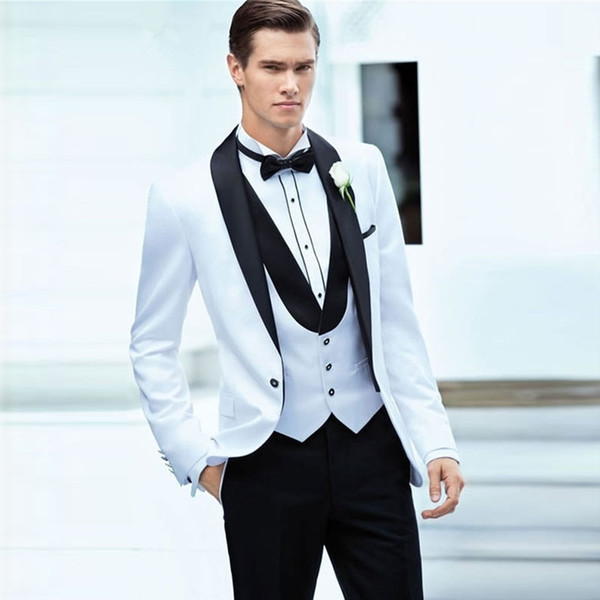 Handsome White One Button Mens Prom Suits Shawl Lapel Wedding Suits For Men Tuxedos Three Pieces Groomsman Blazers Jacket+Pants+Vest