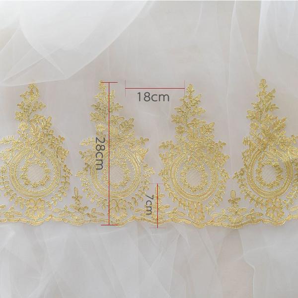 Rebajas de Yard oro francés bordado velo nupcial Tela de encaje Recortar Vestido de novia Pestañas de encaje Accesorios de costura LT01