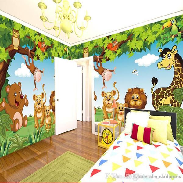 Großhandel Cartoon Fototapete Waldtiere Animation Kinderzimmer 3D Wandbild  Für Kinderzimmer Jungen / Mädchen Schlafzimmer Tapete Benutzerdefinierte ...
