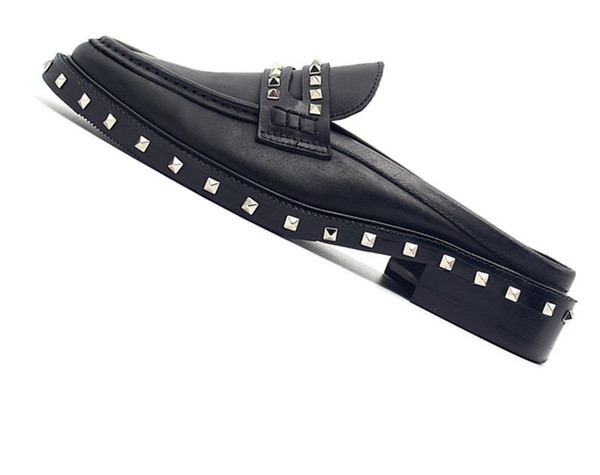 Mules Black Half Cow Skin Runway Fashion Metal Mens Shoes Italy Brand Large Size Sandals Rivet British Style Custom Stud Slides yyn