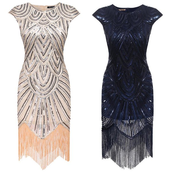 New Women Art Deco Tassel Party Wedding Slim O Neck Flapper Dress