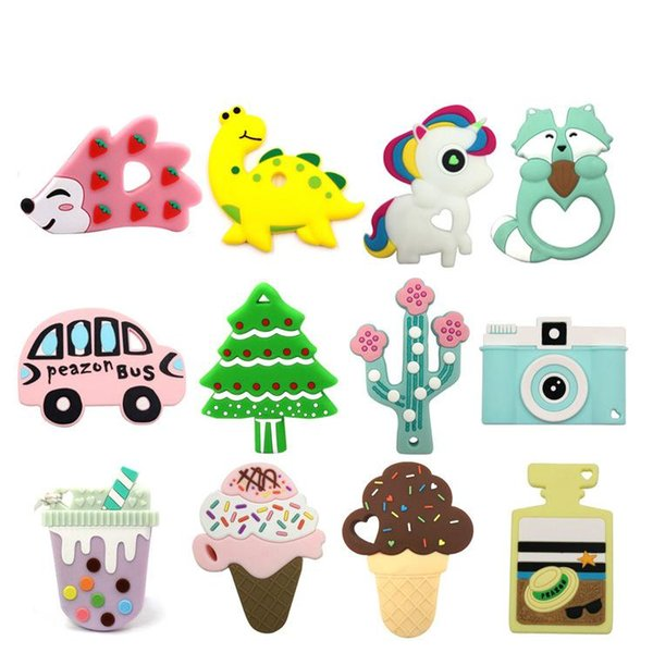 top popular Baby Silicone Teether BPA Free Teething Toy Dinosaur Hedgehog Cactus Elephant Unicorn Ice cream comforter toys Hot selling 2020