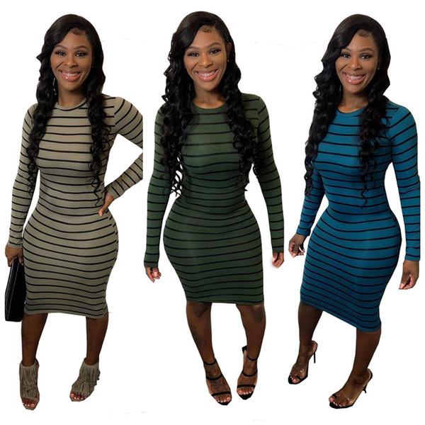 Femmes robes mi-longues occasionnels vêtements rayés automne hiver S-2XL élégante jupe de mode col ras du cou à manches longues vente livraison gratuite DHL vendre 2305