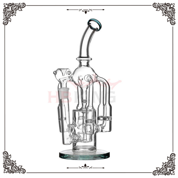 Limited edition big recycler function 12inch perc style Glass water pipe Glass smoking pipe Cool design Oil rag