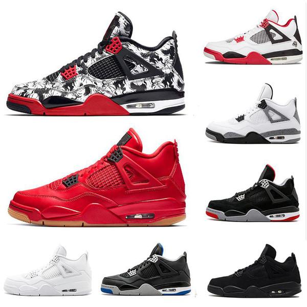 Mit Box Tattoo 4 Singles Day 4s Herren Basketball-Schuhe Pure Money Premium Schwarze Katze Weißzement Bred Fire Rot Alternative Turnschuhe