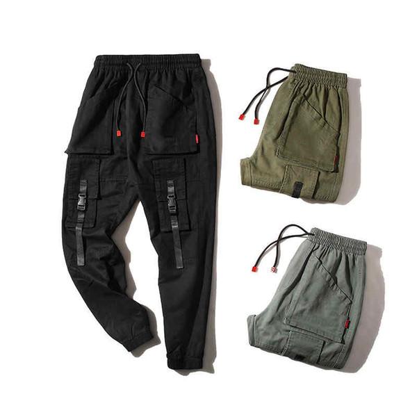 Hip-Hop Streetwear Erkekler Kamuflaj Koşucular Pantolon 2019SS Kurdeleler Pamuk Kargo Pantolon Pantolon Elastik Bel Harem Men.B100748Y Blend