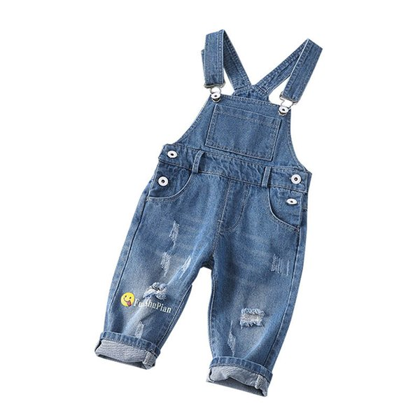 New 0-3year baby Suspenders hole denim Toddler Jumpsuit Boys jeans Suspenders baby clothes baby boy clothes girls Suspender Jeans A4339