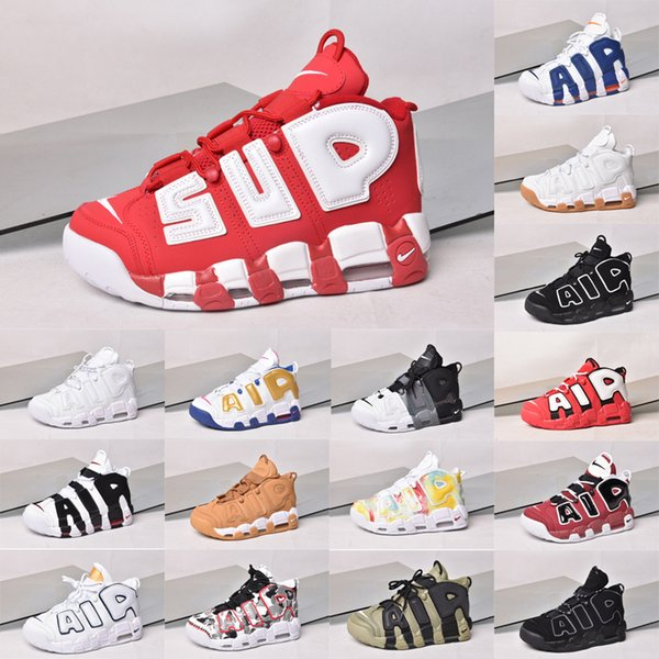 2020 tela a rayas de aire más 96 QS olímpico del Reino Unido Francia Zapatos de baloncesto del Mens CHI oro negro SUP Airs 3M Scottie Pippen Uptempo Deportes zapatillas de Amor