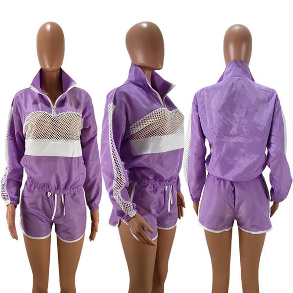 Women Patchwork Sheer Mesh Tracksuit Zipper Jacket Top + Shorts Outfit Jumpsuits Track Suit Summer Wind Breaker Sports Jogger Suit C41503