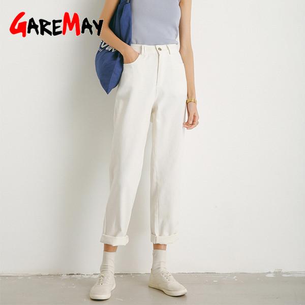 Garemay Гарем Брюки женские белые капри повседневные классические женские брюки с высокой талией хлопок дамы свободные брюки 2019