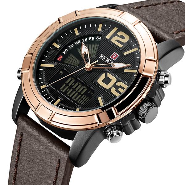 Gli uomini impermeabilizzano orologi digitali al quarzo moda maschile in pelle casual orologio da polso sportivo orologio relogio masculino