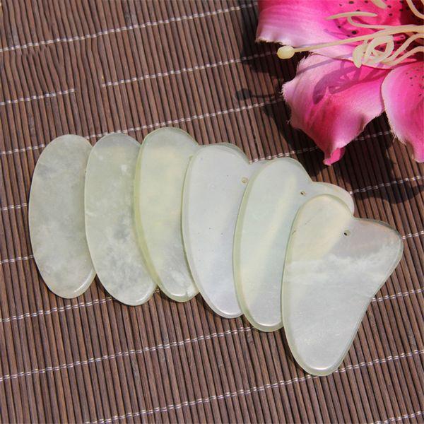 Doğal Gua Sha Kurulu Yeşil Yeşim Taş Guasha Cure Akupunktur Masaj Aracı Vücut Yüz Rahatlama Güzellik Sağlık Aracı