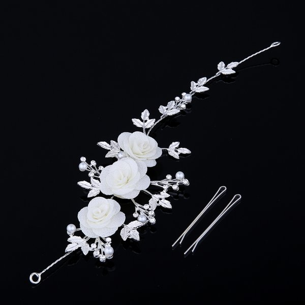 jewelry TDQUEEN Bridal Accessories Flower With Leaf Head Piece Wedding Party Hair Jewelry White Color New Design Hand Made Tiaras