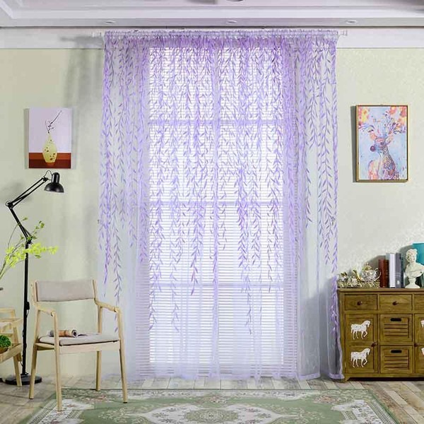 Cute Willow leaf Tulle Curtain Blinds Voile Pastoral Style Willow Floral Window Decorative cortinas for bedroom Living Room