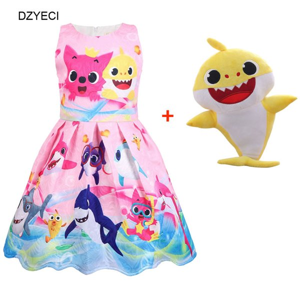Baby Shark Toy Costume For Girl Print Dresses Summer Children Cartoon Party Princess Frock Kid Casual Cotton Tunic Clothes