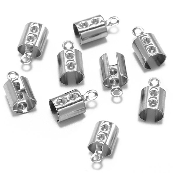 50pcs Classic Stainless Steel Clip Caps Lace Fold Crimp Beads Leather Bracelet Connectors Component DIY Finding Jewelry Making