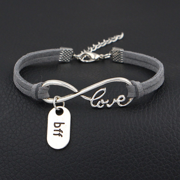 Wholesale Silver Alloy Infinity Love Bff Best Friend Forever Charm Bracelets Unique Gray Leather Suede Men Women Wristband Best Gift Jewelry