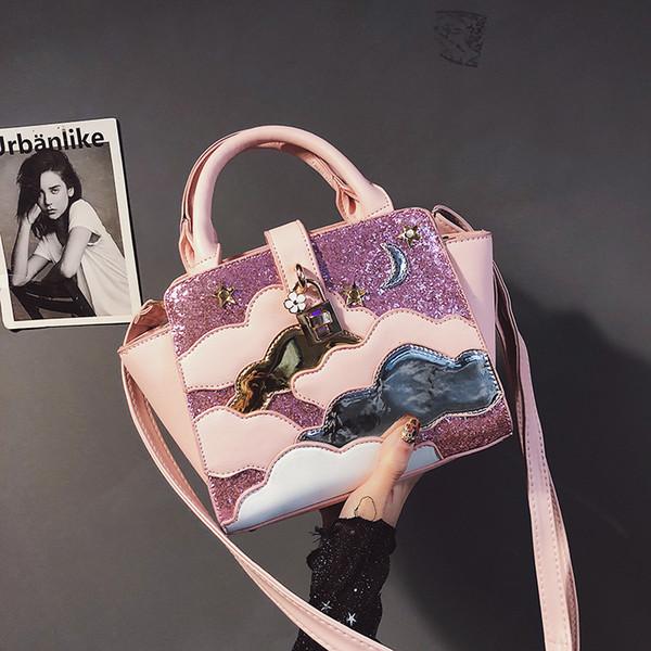 Nuevo bolso de la manera de Alta calidad de cuero de LA PU bolsa de asas de Las Mujeres Dulces dama Lentejuelas bolsa Portátil Nube Hombro Messenger bags