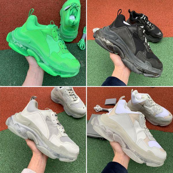 2019 Nuovo Triple S Designer Shoes papà Fashion Sneakers migliore qualità Triple-S Zapatos Fluo Green Black Red Clear Sole uomini pattini casuali delle donne
