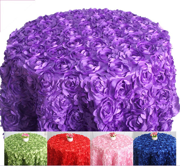 top popular Various colours Round Table cloth rosette embroider table cover 3D rose flower design for wedding party hotel round 2020