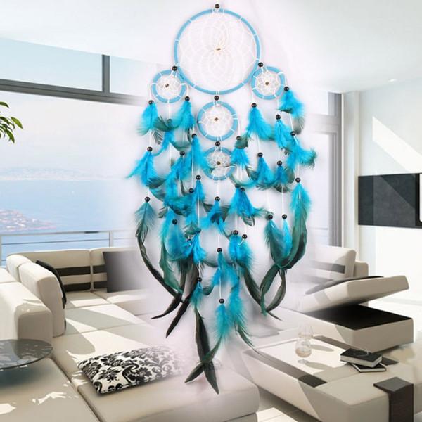 Grandes Dreamcatchers Wind Chime Net Aros Com 5 Anéis Sonho Apanhador Para A Parede Do Carro Pendurado Ornamentos Decoração Artesanato Frete Grátis