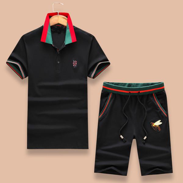Lüks Yaz Erkek Eşofman Logosu ile Marka Tasarımcısı Parça Takım Elbise Erkek T-shirtShorts Takım Elbise Sportwear Arılar Nakışlı Giyim