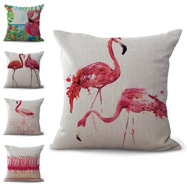 New Tropical Flamingo Pillow Case Cuscino copriletto in cotone lino Tiro quadrato federa Drop Ship 300769