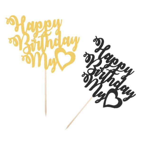 Acheter Joyeux Anniversaire Mon Amour Cake Topper Pick Cure Dents Inséré Carte Fournitures De Fête Amant Anniversaire Cupcake Cuisson Décorer De 503