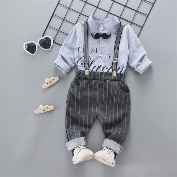 Primavera de qualidade conjuntos de roupas de bebê meninos moda roupas traje de festa de casamento menino dos desenhos animados curto + suspensórios cavalheiro terno