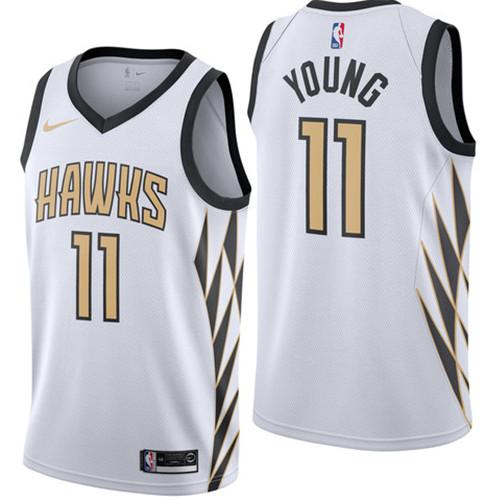 brand new 0b747 a09a1 Men'S Hawks #20 John Collins #11 Young White 2018/19 ...
