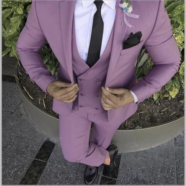 2019 Mais Recente Casaco Calça Projeto Roxo Rosa Homens Terno Slim Fit Noivo Smoking 3 Peça Ternos De Casamento Personalizado Prom Blazer Terno Masculino