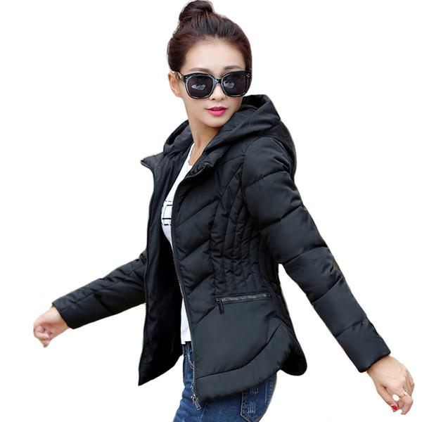 Solid Color Slim Winter Jacket Women Hooded Stand Collar Womens Winter Jackets Female Coat Short Parka Casaco Feminino Inverno