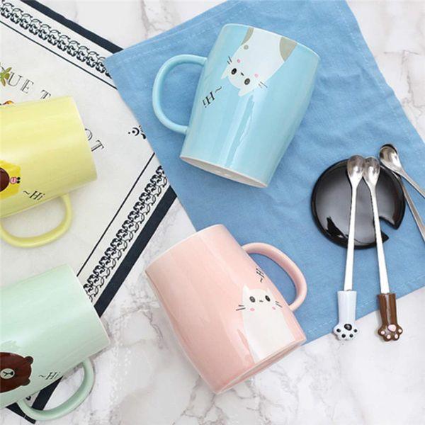 Creativo tazza di ceramica Cute Cartoon Cat ceramica caffè latte tazze da tè coppia personale tazza di succo regalo coperchio della tazza