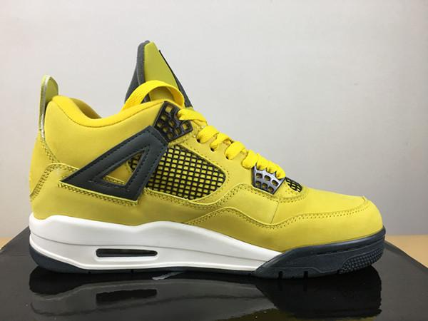 New design high quality 4 IV Lightning basketball shoes Wholesale 4s men yellow black outdoor sports sneakers trainers with box size 7-13