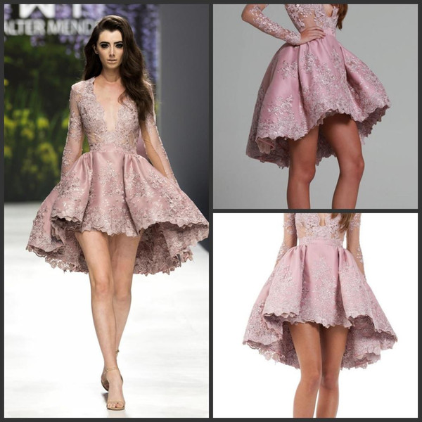 2019 New Custom Made A Line Long Sleeve V Neck Lace Applique Vintage Rhinestone Lace Cocktail Dresses Short 1146