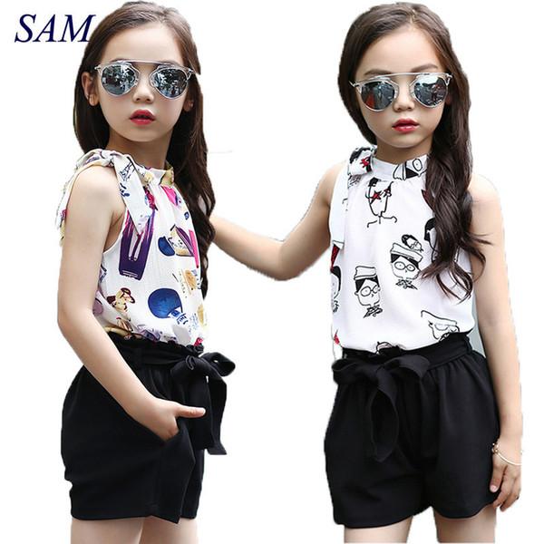 Clothing Sets Chiffon Polka Dot Vests & Shorts 2 Pcs Summer Cartoon T-shirts For Girls Kids Outfits 4 5 6 7 9 11 Years Q190523