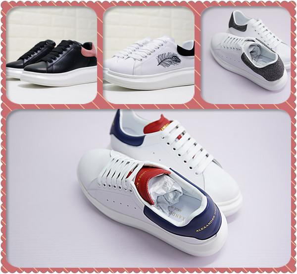 Fashion Platform Designer Damen Schuhe Weiß Freizeitschuhe MC Real Low Cut Leder Herren Outdoor Sports SneakersAlexande Mcqueen