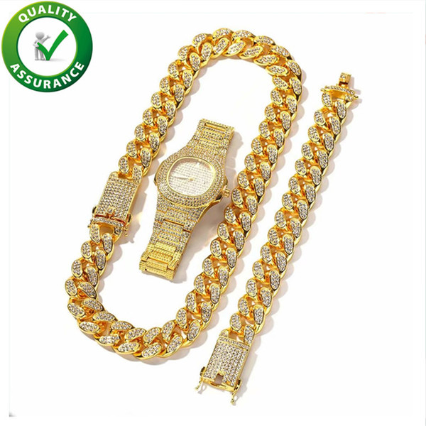 best selling Iced Out Cuban Link Chain Mens Bracelets Luxury Watch Hip Hop Jewelry Sets Designer Necklace Hiphop Bling Chains Jewelry Men Bangle for Love