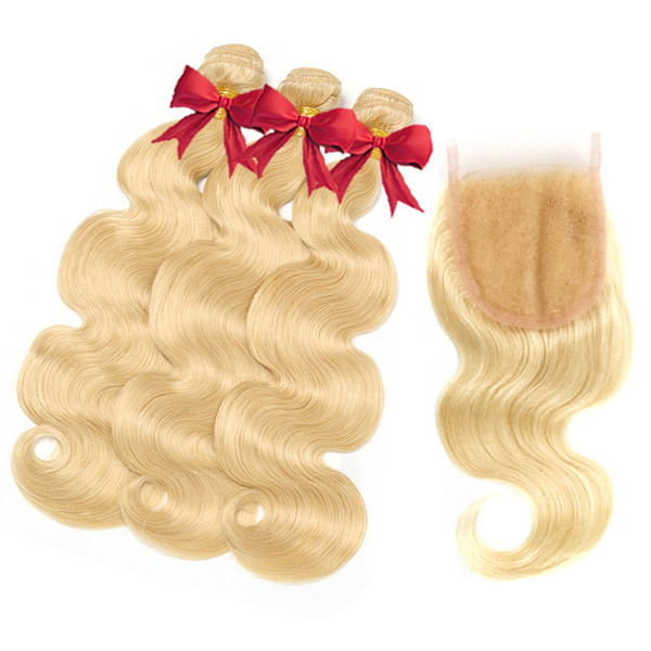 #613 Blonde Body Waver Hair Bundles With Closure Malaysian Virgin Hair 3 Bundles with 4x4 Lace Closure Remy Human Hair Extensions