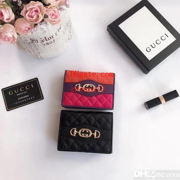 Sac à main Purse with Box Fashion Unisex Pattern Flower Wallet Genuine Leather Women Long Wallets Famous Design Men Purse 0430 Designer