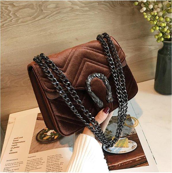 Sac à main d'hiver Nouveau Snakehead serrure sac en velours Classic Line brodé femmes Wavy Sac chaîne élégante Tempérament Petit # 1211
