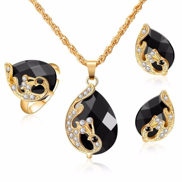 Dark Zircon Bridal Gold Color Jewelry Sets 5 Color Crystal Peacock Jewelry Sets Bride Wedding Necklace Earrings Adjustable Rings Set