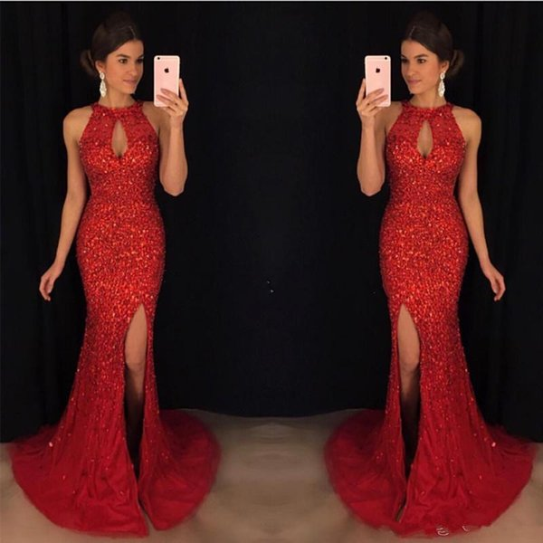 Luxury Bling Bling Prom Dresses 2019 Red Crystal Mermaid Evening Dresses Sexy Split Front Key Hole Neckline Tulle Pageant Gowns