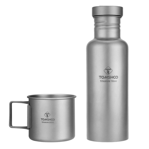 Lixada Außen Geschirr 300ml / 750ml Titan Wasserflasche mit zusätzlichem Kunststoffdeckel Ultra Outdoor-Camping-Wandern Radfahren