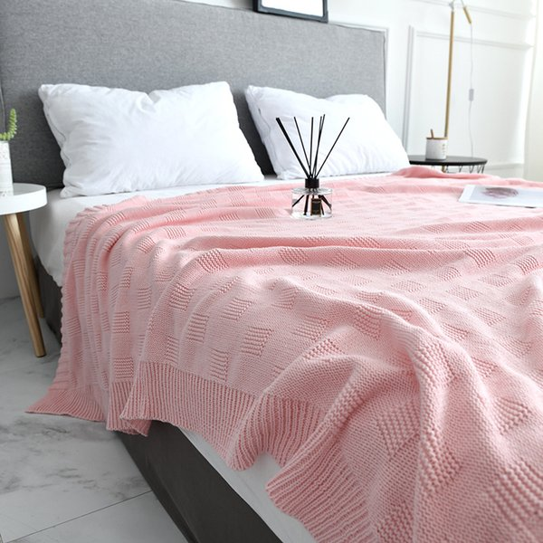 Soft Pink Gray Knitted Blanket on for Sofa Couch Travel/Bed Cover /Car Decorative Portable Plaids Aircondition Bedspread